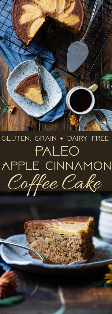 Gluten Free Apple Cinnamon Coffee Cake -This gluten free coffee cake is made with almond flour, apples and naturally sweetened with coconut sugar. Its a healthy, paleo and freezer-friendly breakfast that you will never believe is butter and oil free! | Foodfaithfitness.com | @FoodFaithFit