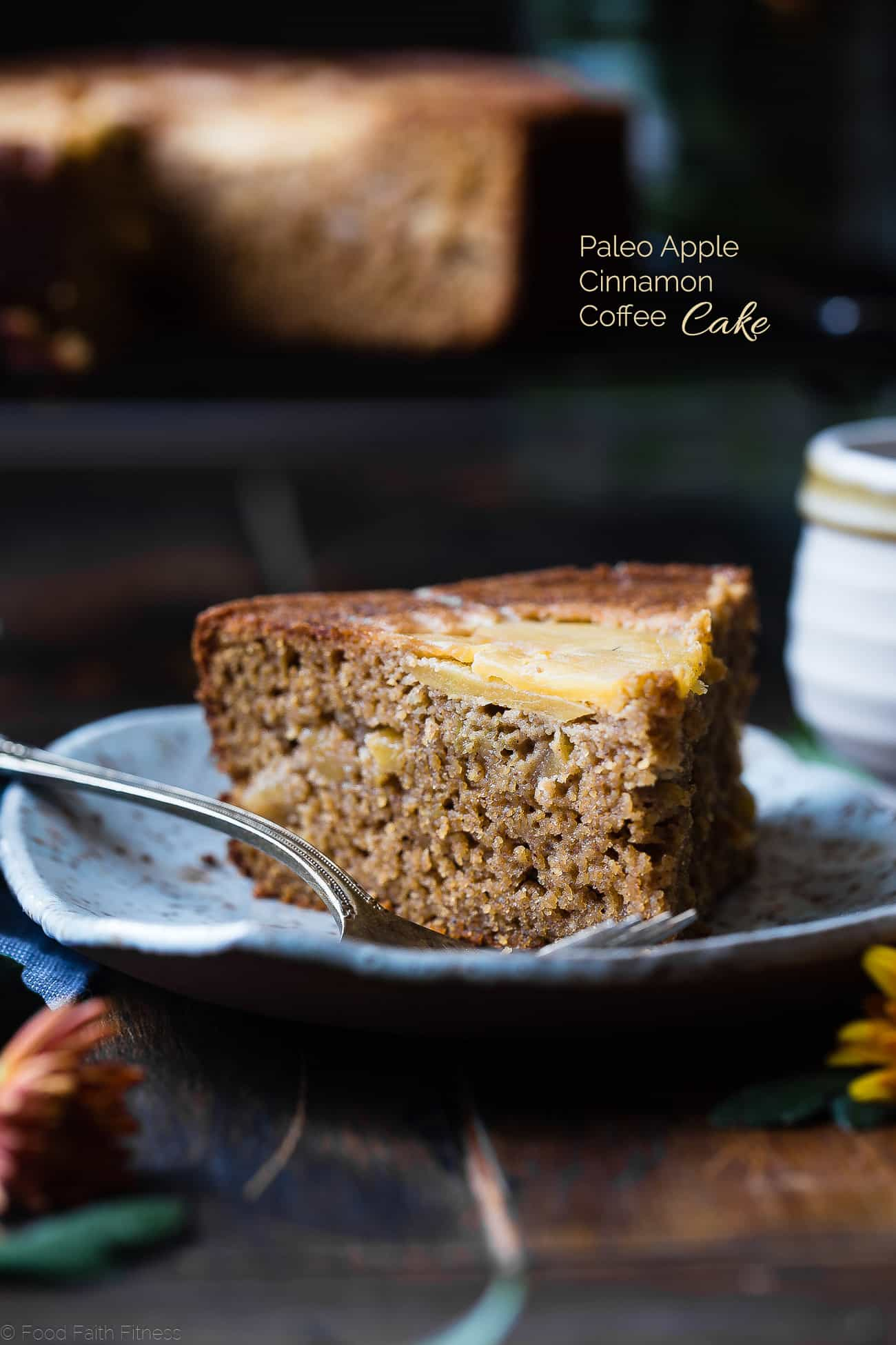 Gluten Free Apple Cinnamon Coffee Cake - This paleo apple gluten free coffee cake is made with almond flour, apples and naturally sweetened with coconut sugar. Its a healthy, paleo and freezer-friendly breakfast that you will never believe is butter and oil free! | Foodfaithfitness.com | @FoodFaithFit