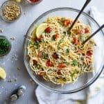 Vegan Gluten Free Pasta Salad with Artichokes and Lemon Vinaigrette
