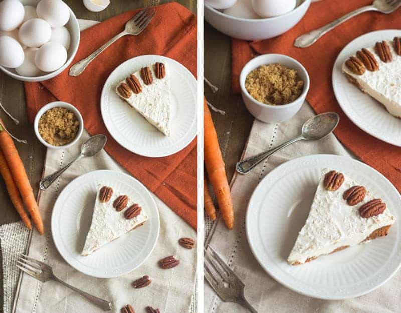Skinny Frozen Carrot Cake Cheesecake - {Gluten Free, Low Fat + Low Calorie} - Food Faith Fitness