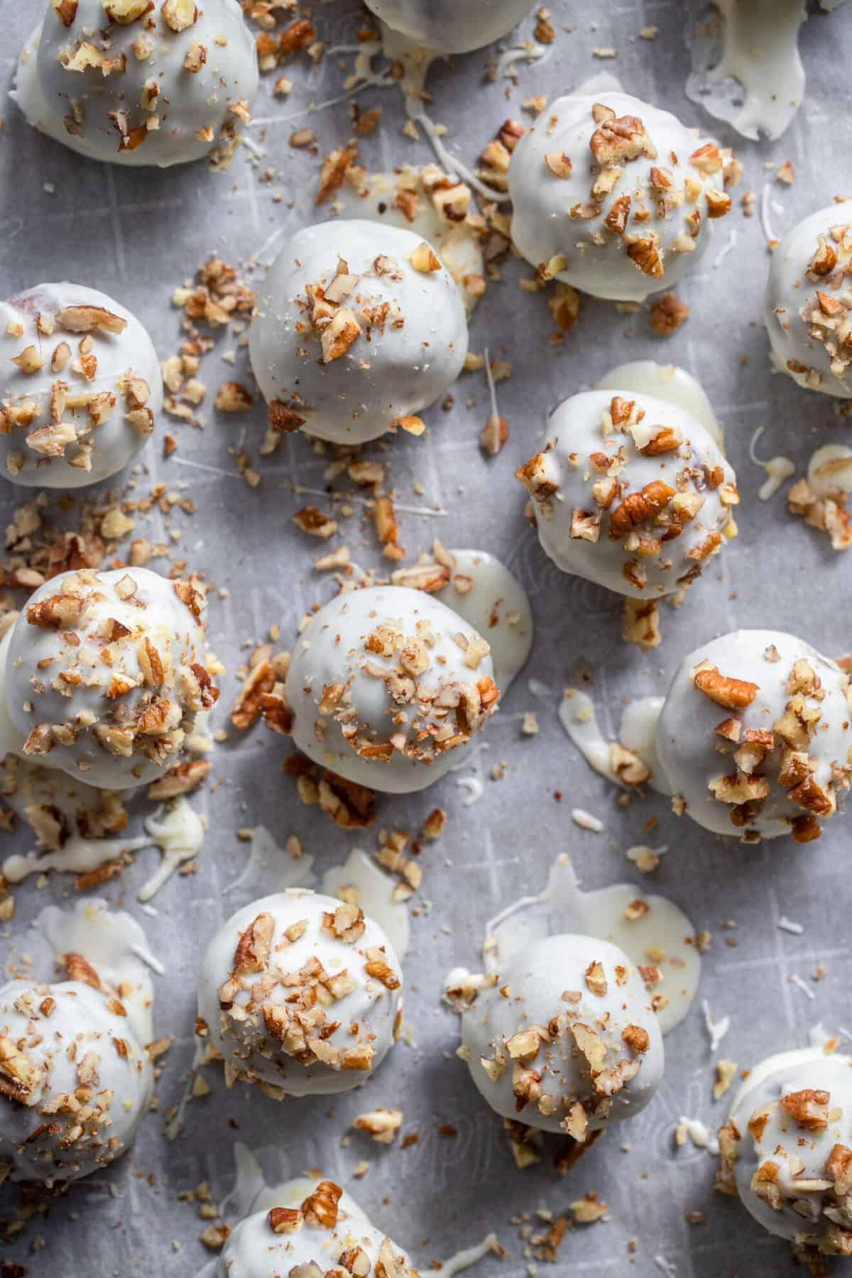 Carrot cake truffle recipe close up with sprinkles