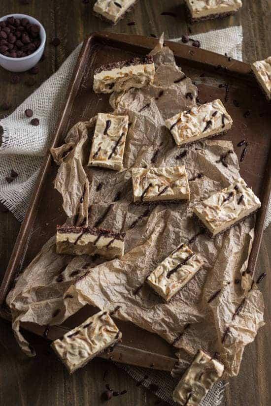 Skinny Chocolate Peanut Butter Krispie Cheesecake Bars {Gluten Free, Low Calorie + Lower fat} - Food Faith Fitness #chocPBday