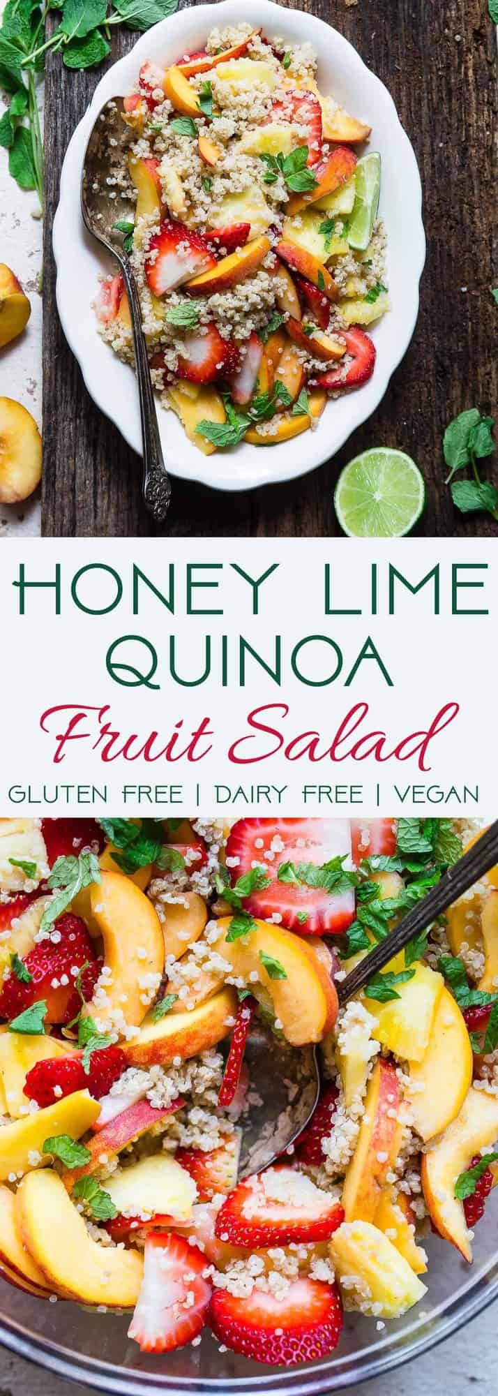 Honey Lime Quinoa Fruit Salad - This honey lime Coconut Milk Quinoa Fruit Salad is loaded with fresh, juicy fruit and a sweet and tangy dressing! The perfect healthy, gluten free and vegan side dish or brunch item for Summer! | #Foodfaithfitness | #Glutenfree #Vegan #Healthy #Dairyfree #Quinoa