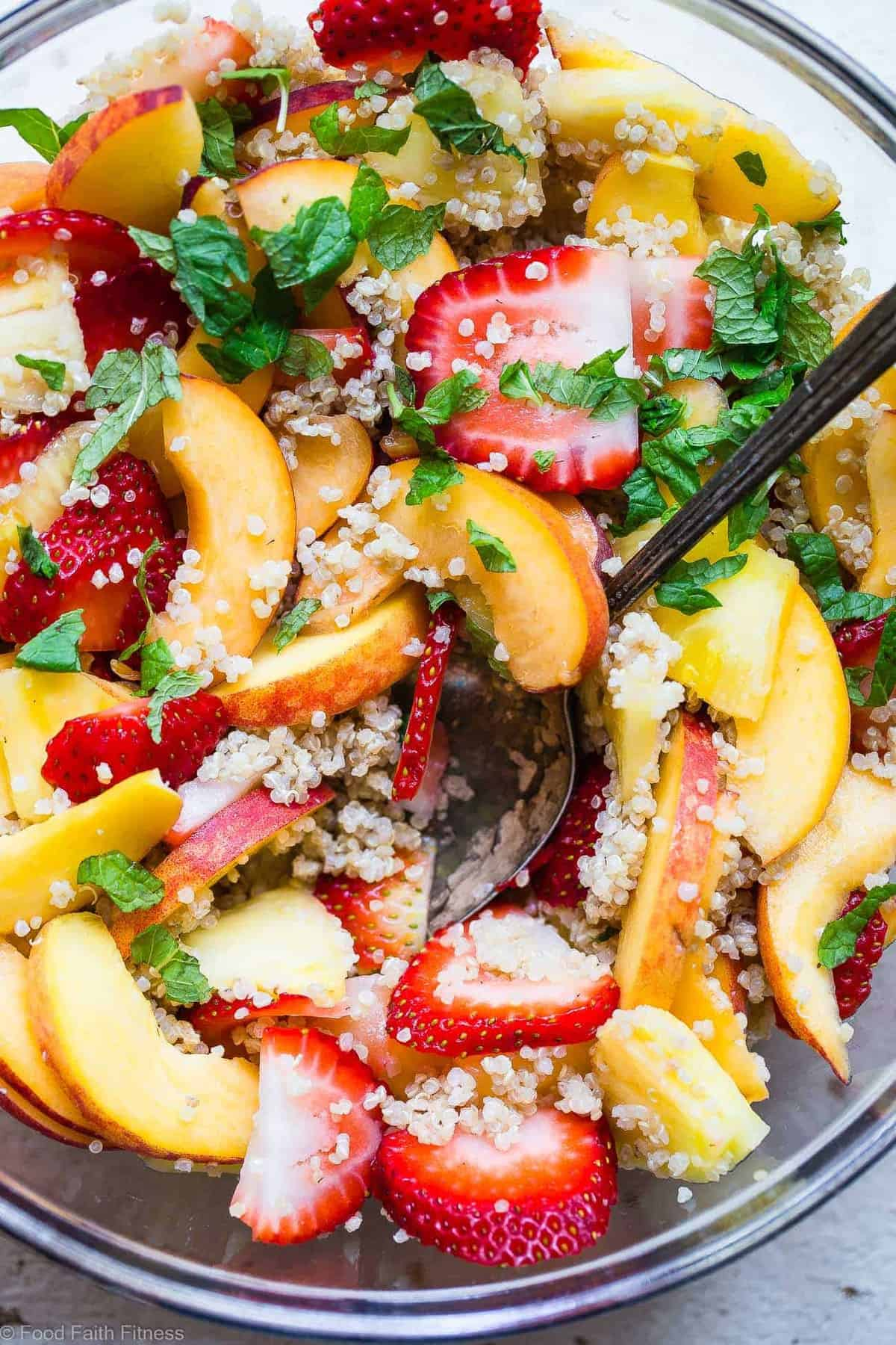 Honey Lime Quinoa Fruit Salad -This honey lime Coconut Milk Quinoa Fruit Salad is loaded with fresh, juicy fruit and a sweet and tangy dressing! The perfect healthy, gluten free and vegan side dish or brunch item for Summer! | #Foodfaithfitness | #Glutenfree #Vegan #Healthy #Dairyfree #Quinoa