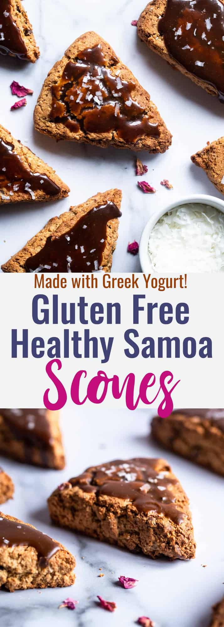 Healthy Gluten Free Samoa Scones with Greek Yogurt -These Healthy Gluten Free Sconesare an easy, better for you breakfast that tastes like a scone and a Samoa cookie had a baby! Dairy free option included! | #Foodfaithfitness | #Glutenfree #Dairyfree #Healthy #Scones #Breakfast