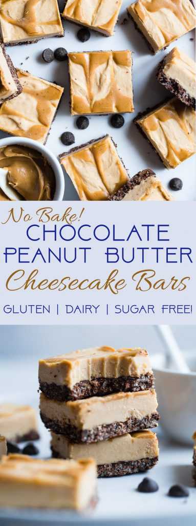 Dairy and Gluten Free No Bake Peanut Butter Cheesecake Bars - Asuper easy dessert with a yummy, crunchy chocolate rice krispie crust. You'd never know that they are gluten free, dairy free and made with better for you ingredients! | #Foodfaithfitness | #GlutenFree #DairyFree #Healthy #Peanutbutter #NoBake