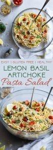 Gluten Free Lemon Artichoke Spaghetti Pasta Salad-A simple, healthy, vegan friendly pasta salad with creamy, roasted artichokes, bright fresh basil, garlic and lemon vinaigrette! Big flavors, so easy and great for Spring or Potlucks! | #Foodfaithfitness | #Vegan #Glutenfree #Healthy #Pastasalad #Dairyfree