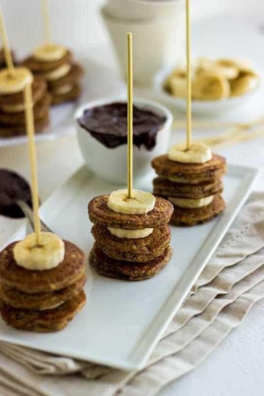 Banana Hazelnut Pancake Skewers with Chocolate Dip - Food Faith Fitness