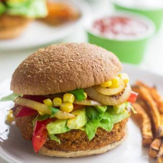 Sweet Potato Veggie Burger Recipe with Avocado, Corn and Peppers {Vegan}