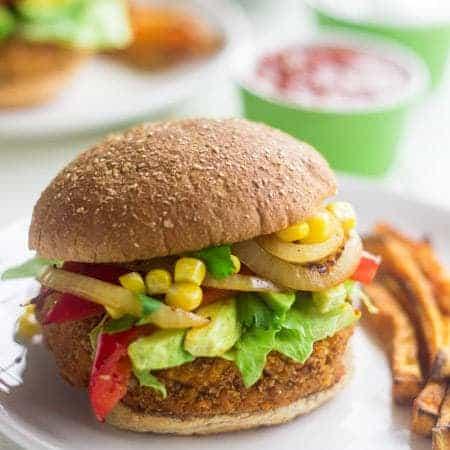 Southwestern Sweet Potato Veggie Burger - Food Faith Fitness