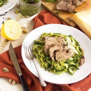 Zucchini Noodles With Pistachio Pesto and Roasted Pork Tenderloin {Low Carb, Lower Fat, Gluten Free + High Protein}
