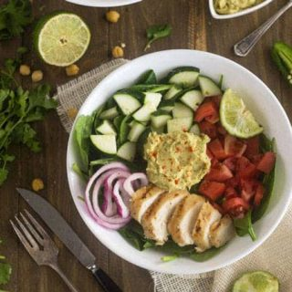 Panera Hummus Chicken Power Salad Copy Cat {GF, Low Fat, Low Calorie, Easy + High Protein}