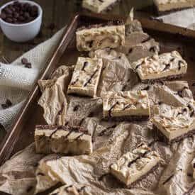 Skinny Chocolate Peanut Butter Krispie Cheesecake Bars - Food Faith Fitness