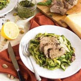 Pistachio Pesto Zoodles and Pork