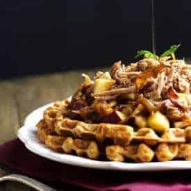 Pulled Pork Cornbread Waffles