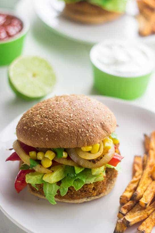 Southwestern Sweet Potato Veggie Burger {Vegan} - Food Faith Fitness