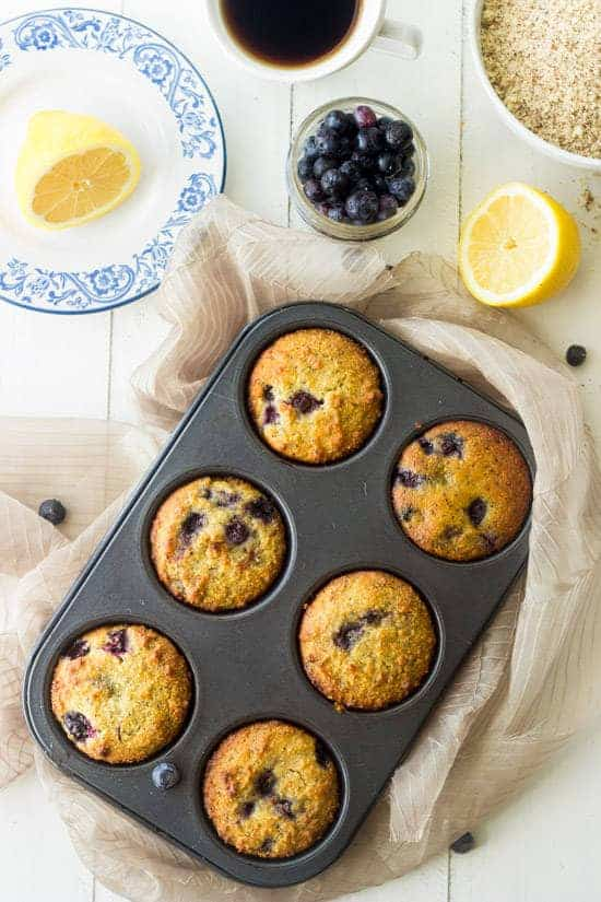 Blueberry Muffins with Lemon and Poppyseeds {Paleo + GF} - Food Faith Fitness
