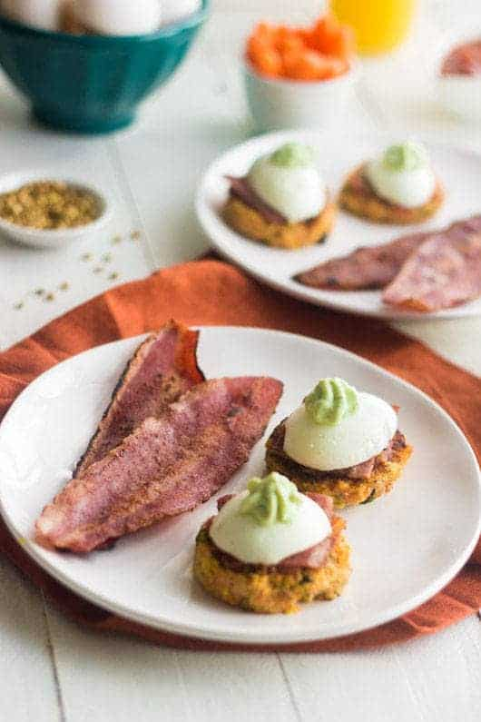 Mexican Carrot Fritters with Bacon and Egg #glutenfree #Healthy #Breakfast #Recipe - Food Faith Fitness