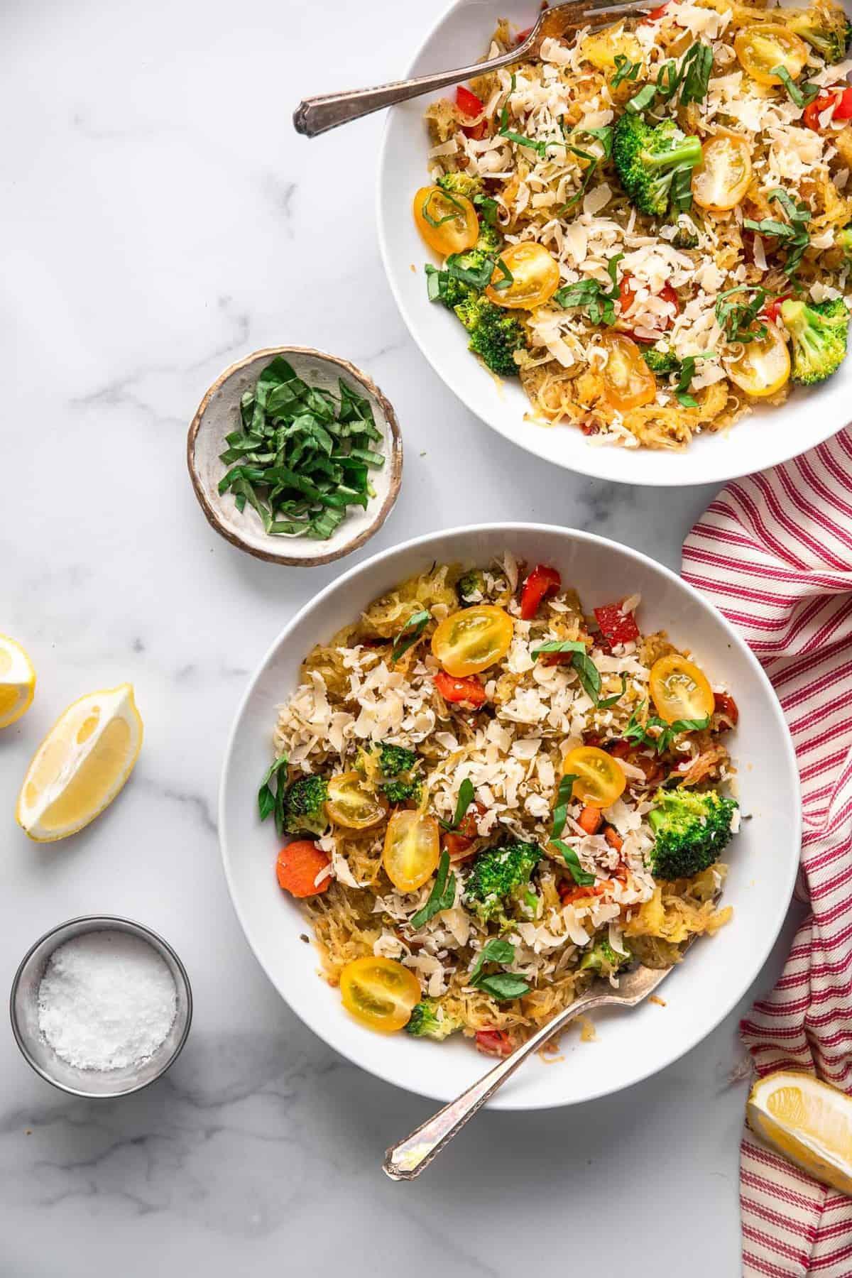Healthy pasta primavera in a bowl with garnish