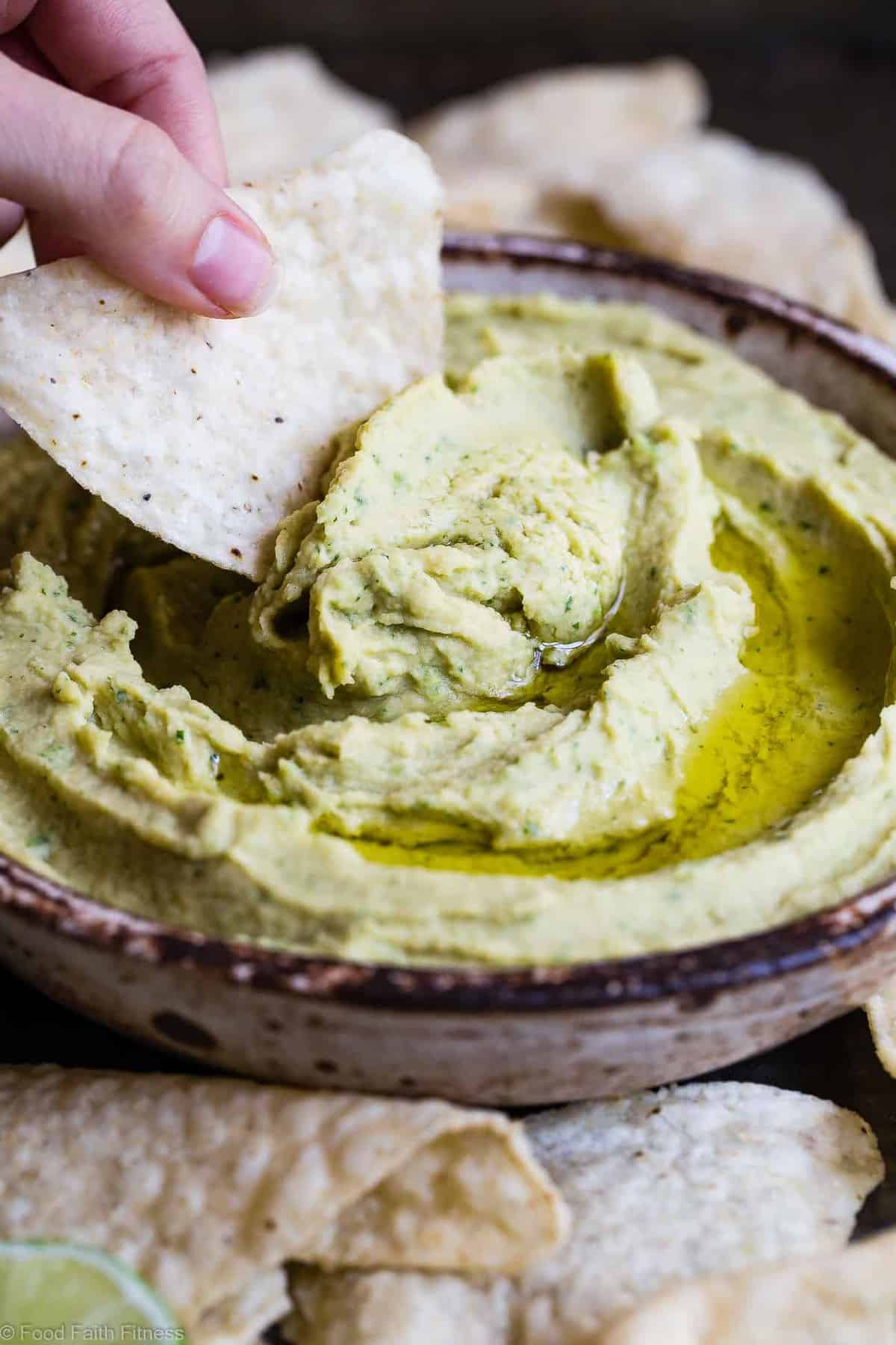 Cilantro Lime Jalapeno Hummus - This spicy, ADDICTING homemade hummus doesn't use tahini! Perfect for snacks, or spreading on a sandwich and gluten free, vegan and 0 Weight Watchers Freestlye Points! | #Foodfaithfitness | #Vegan #Glutenfree #Healthy #Dairyfree #Hummus