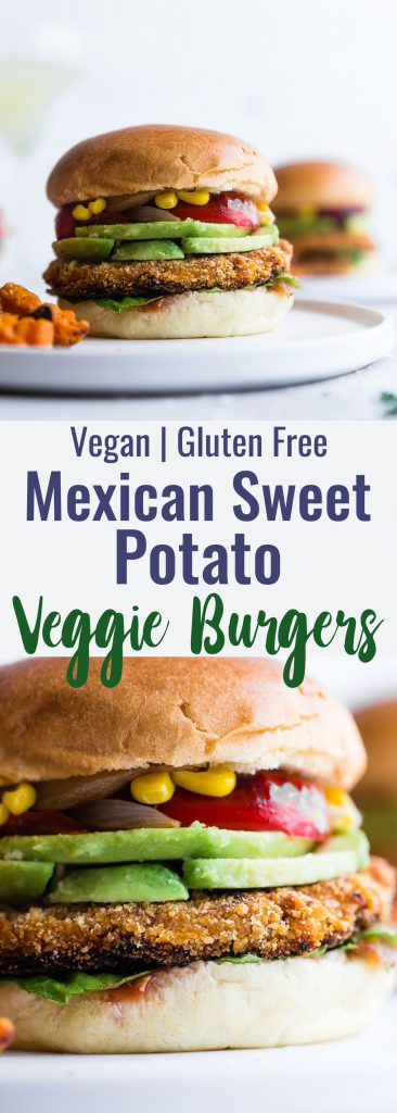 Mexican Sweet Potato Veggie Burgers -These easy homemade sweet potato veggie burgers are made from sweet potatoes coated with crunchy panko and finished with creamy avocado and grilled vegetables! Gluten free, vegan friendly and SERIOUSLY amazing! | #Foodfaithfitness | #Glutenfree #Vegan #Healthy #Veggieburger #DairyFree