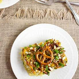 Honey Mustard Pretzel Spaghetti Squash Casserole