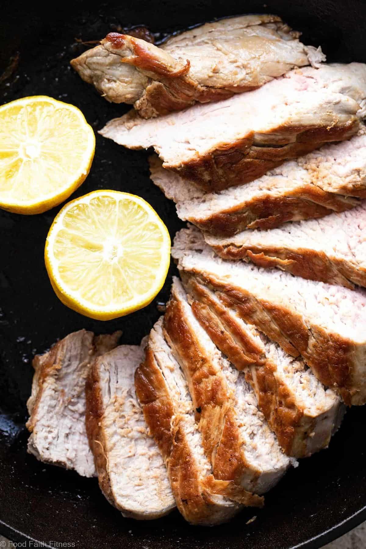 Keto Baked Pork Tenderloin with Pistachio Pesto - This easy, healthy, paleo friendly baked Pork Tenderloin has a delicious, creamy pistachio pesto! A low carb, sugar free weeknight meal that everyone will enjoy! | #Foodfaithfitness |