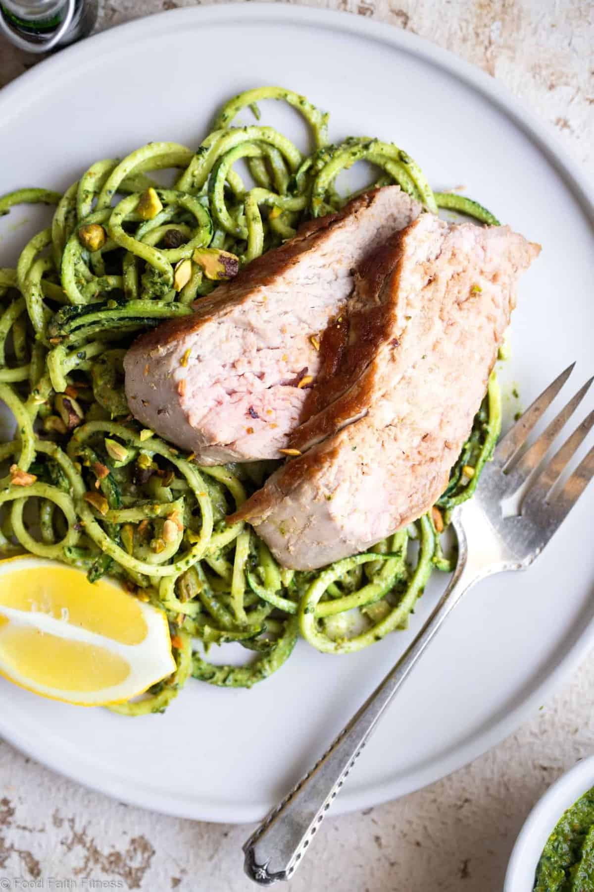Keto Pork Tenderloin with Pistachio Pesto - This easy, healthy, paleo friendly baked Pork Tenderloin has a delicious, creamy pistachio pesto! A low carb, sugar free weeknight meal that everyone will enjoy! | #Foodfaithfitness | #Glutenfree #Keto #Lowcarb #Paleo #Sugarfree