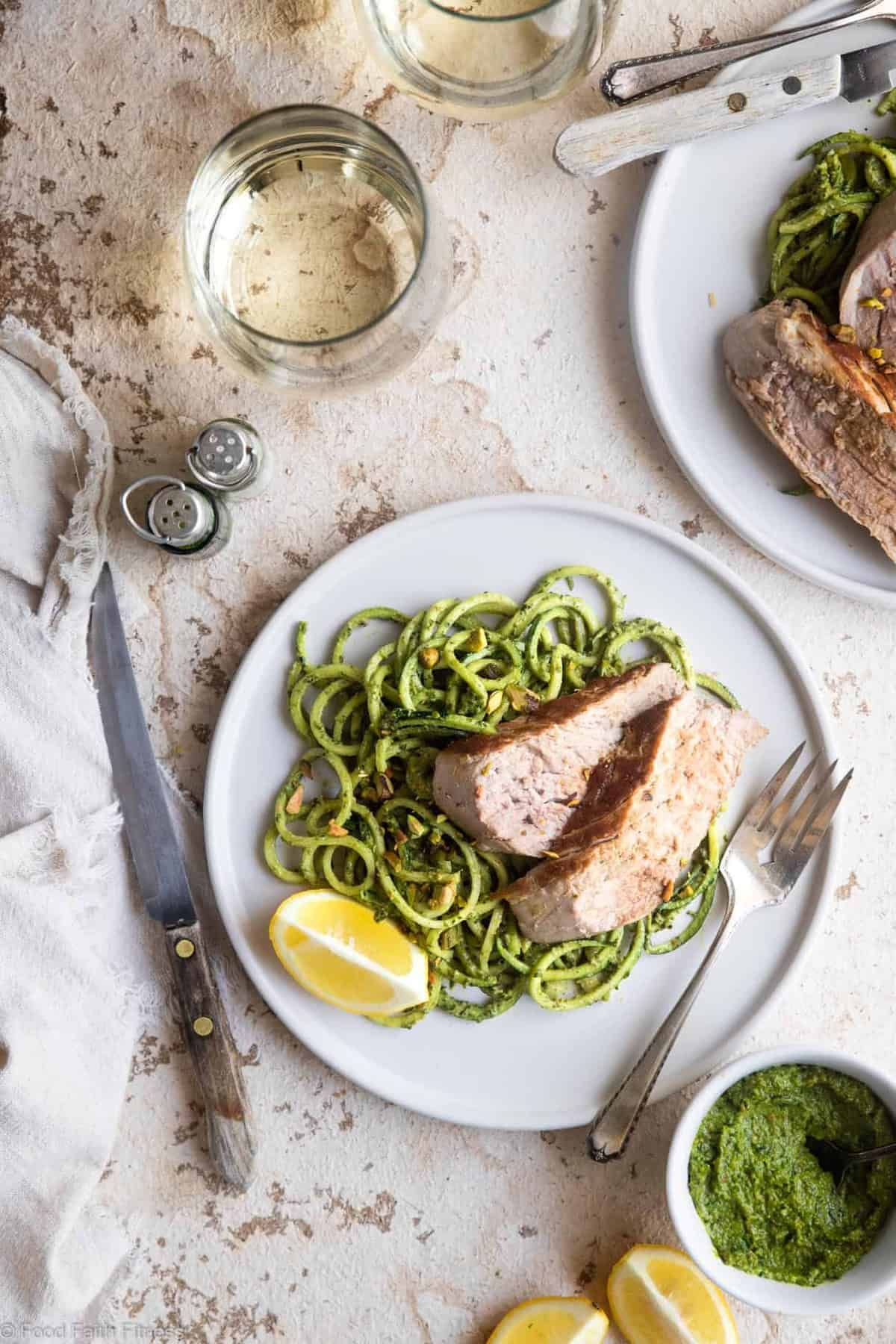 Keto Low Carb Pork Tenderloin with Pistachio Pesto - This easy, healthy, paleo friendly baked Pork Tenderloin has a delicious, creamy pistachio pesto! A low carb, sugar free weeknight meal that everyone will enjoy! | #Foodfaithfitness |