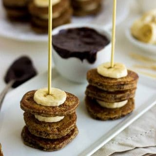 Gluten Free Pancake Skewers with Hazelnut Meal, Bananas and Chocolate Dip for #Brunchweek