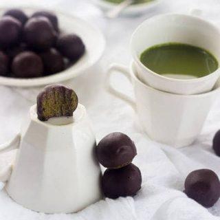 Matcha Green Tea Energy Bites with Chocolate Coating