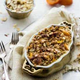 Baked Peach and Almond French Toast