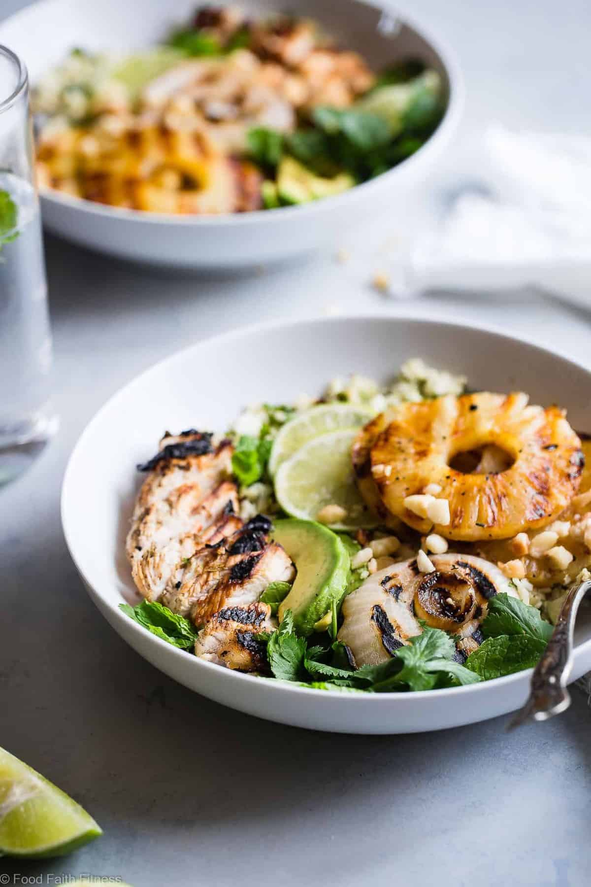 Grilled Tropical Chicken Bowls - These paleo and whole30 compliant Grilled Tropical Chicken bowls are an easy, healthy and gluten free weeknight dinner loaded with sweet and tangy island flavors! Sure to be a crowd pleaser! | #Foodfaithfitness | #Paleo #Whole30 #Glutenfree #Healthy #Chickendinner