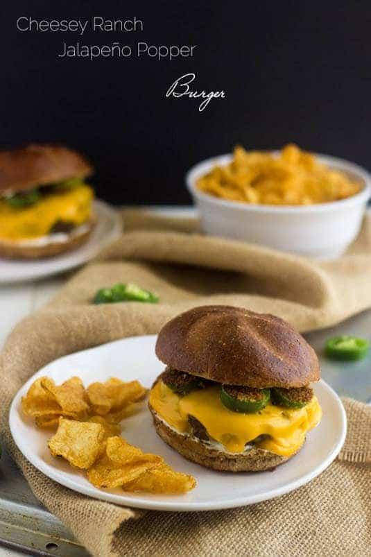 Cheesy Jalapeno Ranch Burger - Your new favorite #burger! - Food Faith Fitness   #SayCheeseburger #shop