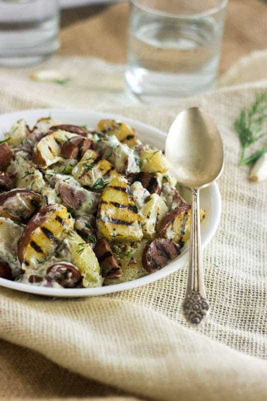 Grilled Red Potato Salad with Sausage and Ranch | Food Faith Fitness