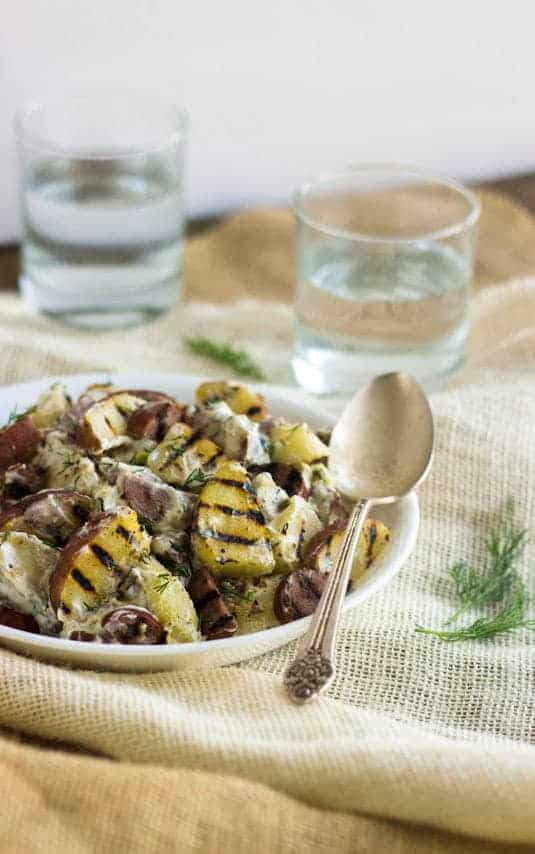 Light Ranch and Sausage Grilled Red Potato Salad   It's low fat, healthy and DELICIOUS for Summer grilling!   Food Faith Fitness   #potatosalad #recipe