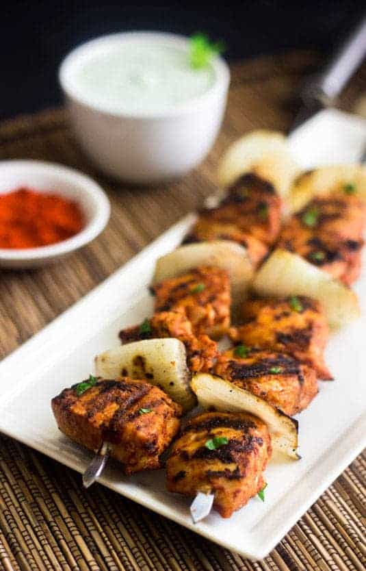 Grilled Spicy Tomato Chicken Kebabs | TONS of flavor and ready in 20 mins! | Food Faith Fitness | #chicken #kebab #recipe