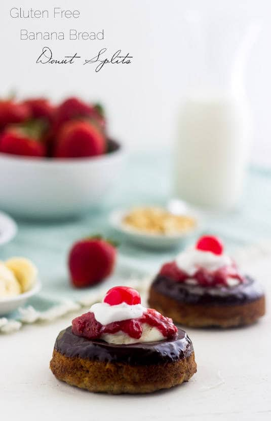 Gluten Free Banana Bread Donut Splits - Like a banana split in donut form! | Food Faith Fitness| #recipe #donut #bananabread