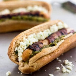 Bacon Wrapped Hot Dogs with Salsa Verde and Queso Fresco {Whole Wheat, High Protein, Low Fat}