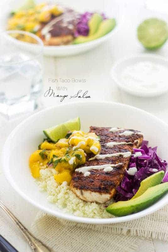 Fish Taco Bowls with Mango Salsa and Cauliflower Rice - a healthy twist on a classic!   Food Faith Fitness   #recipe #taco #glutenfree