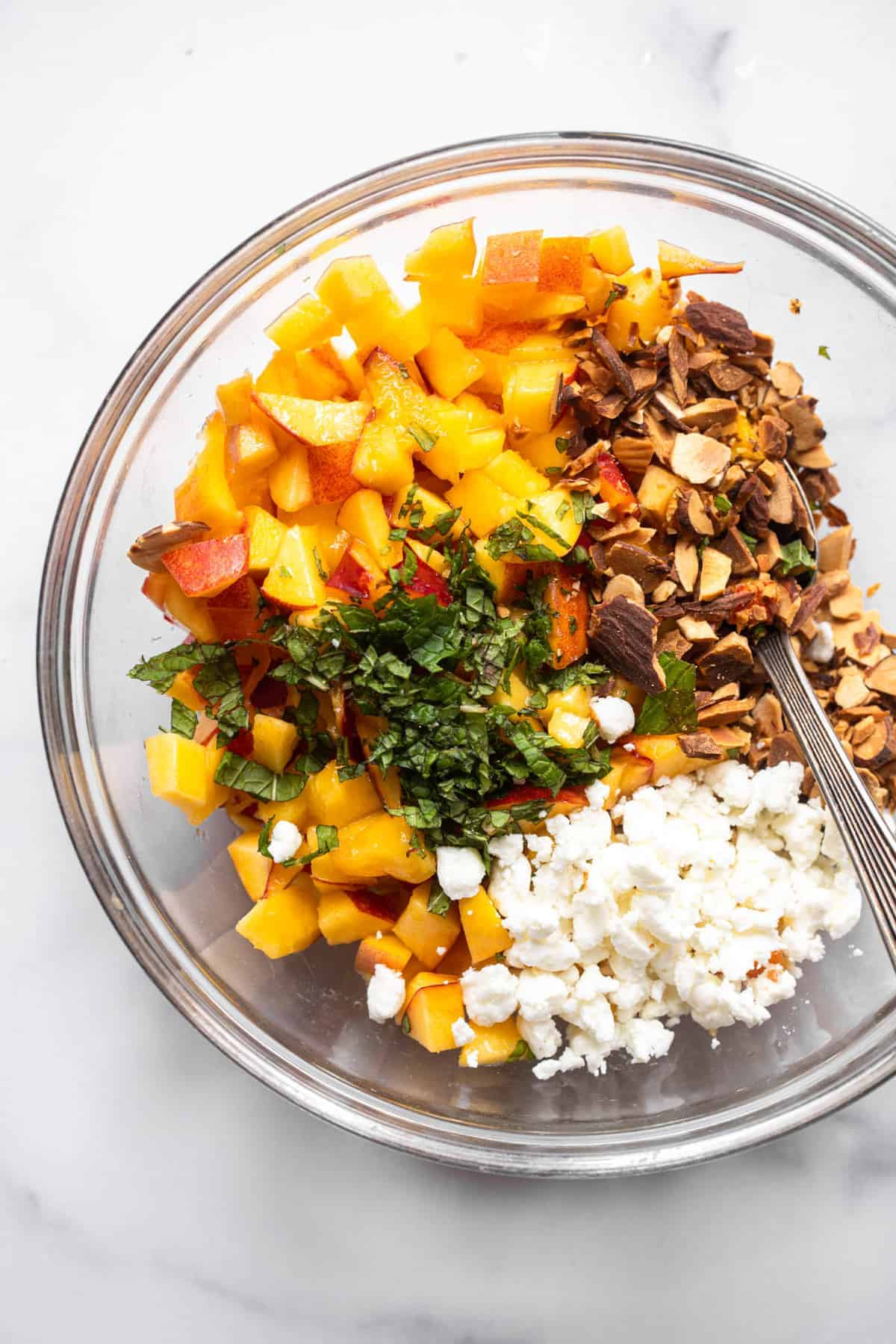 bowl of ingredients ready to be mixed for Nectarine Fruit Salsa