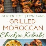 Grilled Moroccan Chicken Kebabs -These quick and easy, low carb Grilled Moroccan Chickenskewers are complete with a healthy, high protein yogurt mint sauce! Gluten free, only 1 Weight Watchers Freestlye point and SO delicious! | #Foodfaithfitness | #Lowcarb #WeightWatchers #Glutenfree #Healthy #Grilling
