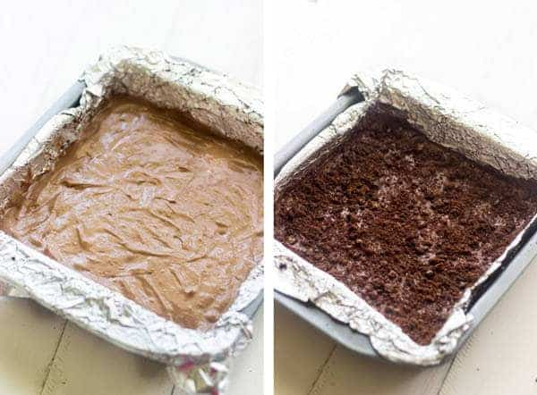 Light Chocolate Butterscotch Cheesecake Bars - So much chocolatey goodness, you would never know they are healthier!   foodfaithfitness.com   #cheesecake #dessert #recipe