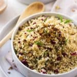 Quinoa Salad with Pistachios, Cherries, and Honey Balsamic Kefir Dressing