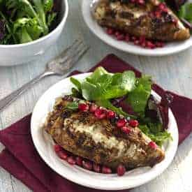 Pomegranate and Goat Cheese Stuffed Chicken