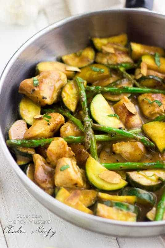 Super Easy Honey Mustard Chicken Stir Fry - Quick, healthy and perfect for a weeknight! | www.foodfaithfitness.com | #chicken #stirfry #recipe