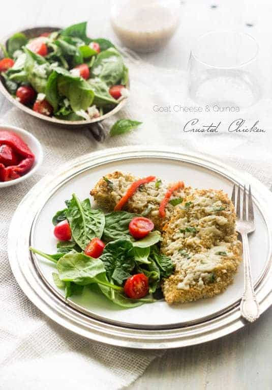 Quinoa and Goat Cheese Crusted Chicken - SO easy and healthy! My new favorite meal! | www.foodfaithfitness.com| #quinoa #chicken #recipe #glutenfree