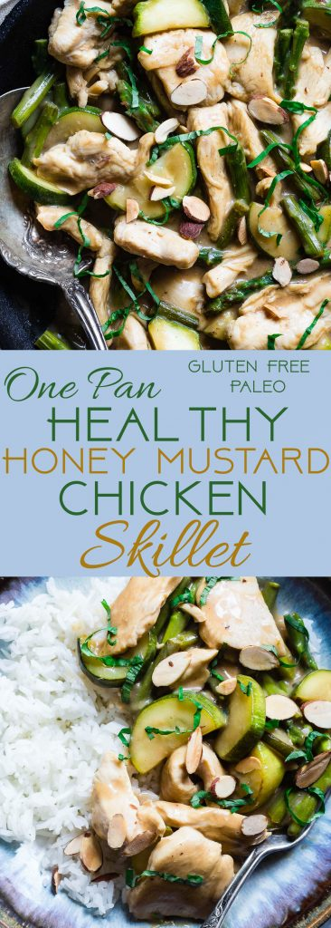 Easy Honey Mustard Chicken Skillet -This paleo friendly chicken skillet is quick, easy and healthy! It's kid-friendly, 30 minute meal that makes great leftovers and perfect for busy weeknights!   Foodfaithfitness.com   @FoodFaithFit