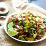 Grilled Corn Salad with Jalapeno Lime Vinaigrette {GF, Low Fat, Low Calorie, Vegetarian + Super Simple}