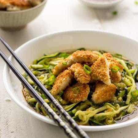 Coconut Honey Garlic Chicken and Zoodles - Crispy, Crunchy and Healthy! | Foodfaithfitness.com | #recipe #chicken #zucchininoodles